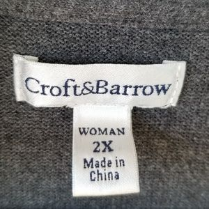 croft & barrow Sweaters - CROFT & BARROW Gray Cardigan 2X